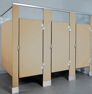 Solid plastic bathroom stalls solid plastic bathroom partitions for Bathroom partitions home depot