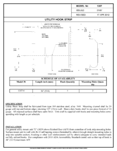 asi 1307-4 Utility Hook Strip